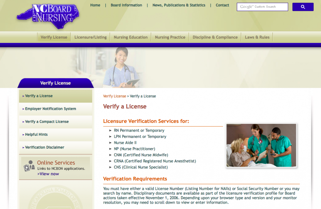 """RN License Verification NC"""
