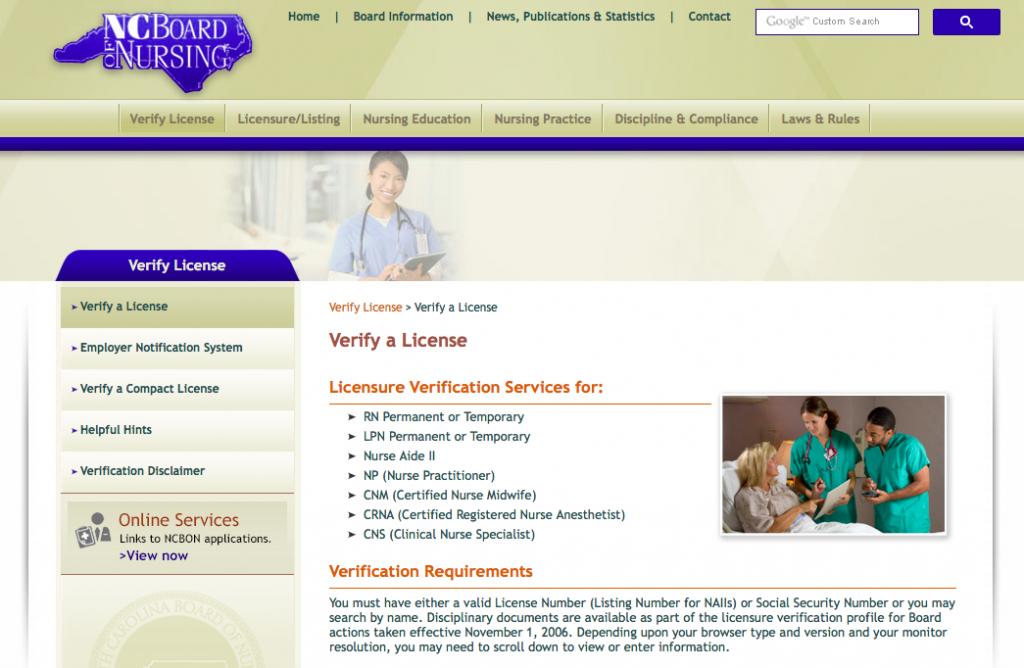 """RN License Verification NC"""